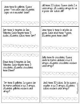 Math Word Problem of the Day {February} 2nd Grade Spanish