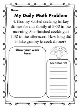 Math Word Problem of the Day: November Edition