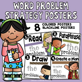 Math Word Problem strategy posters:  BW and colored Visuals for the classroom