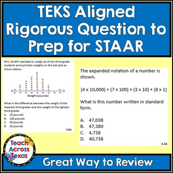 Math Word Problems (3rd Grade STAAR) Pack 3 - ALIGNED TO NEW TEKS