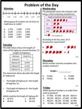 Math Word Problems (3rd grade STAAR) Pack 1 - ALIGNED TO NEW TEKS