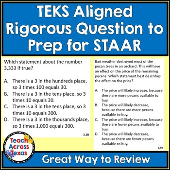 Math Word Problems (3rd grade STAAR) Pack 2 ALIGNED TO NEW TEKS