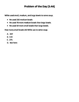 Math Word Problems (3rd grade STAAR) Pack 5--Aligned to NEW TEKS