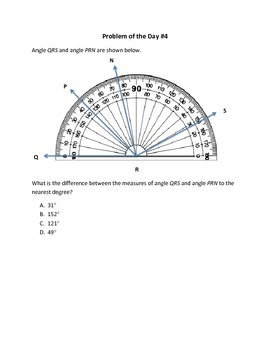 Math Word Problems (4th Grade STAAR) Measuring Angles--Aligned to NEW TEKS