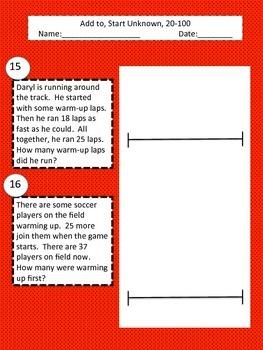 Math Word Problems- Add to (Start Unknown)