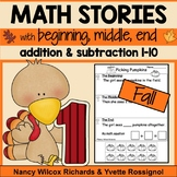 Math Word Problems for Fall  Addition and Subtraction 1-10 NO PREP