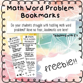 Math Word Problems Bookmark Freebie