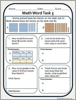 Multi-Step Word Problems Math Stories - Worksheets Grade 2 - 3