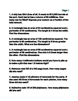 Math Word Problems Grades 7 & 8 (Includes a test!)