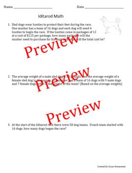 Math Word Problems ~ Iditarod Race ~ 4.OA.A3 Multistep