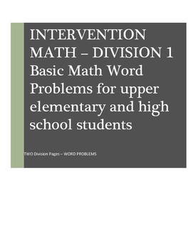 Math Word Problems Intervention: Division I