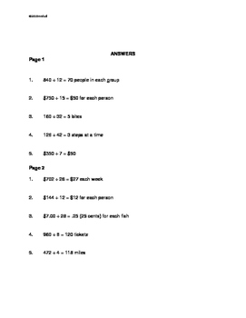 Math Word Problems Intervention: Division II