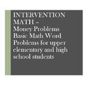 Math Word Problems Intervention: Money - Bills and Coins