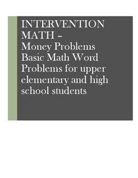 Math Word Problems Intervention: Money - Bills and Coins