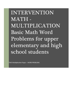 Math Word Problems Intervention: Multiplication I