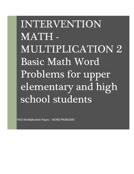 Math Word Problems Intervention: Multiplication II