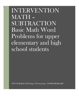 Math Word Problems Intervention: Subtraction Without Borrowing