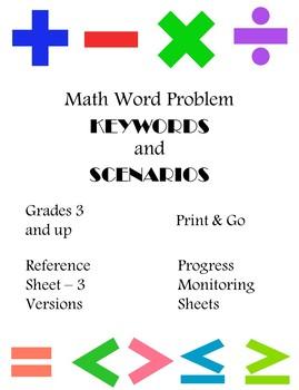 Math Word Problems Keywords and Scenarios Reference Sheets & Progress Monitoring