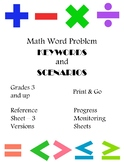 Math Word Problems Keywords and Scenarios Reference Sheets