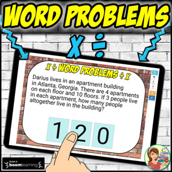 Math Word Problems Multiplication and Division Boom Cards: Digital Task Cards