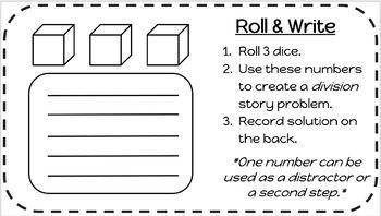 Math Word Problems - Roll & Write