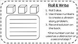 Math Word Problems - Roll & Write -- Editable