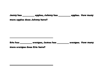 Math Word Problems-Subtraction