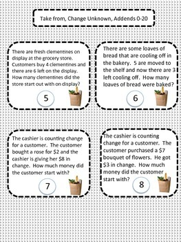 Math Word Problems - Take From (Start Unknown)