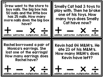 Math Word Problems Task Cards (Choose the Operation)