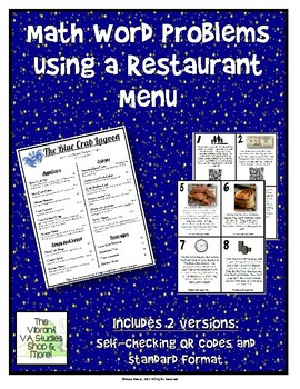 Math Word Problems Using a Restaurant Menu