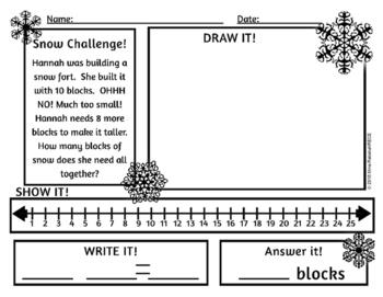 Math Word Problems Winter Theme