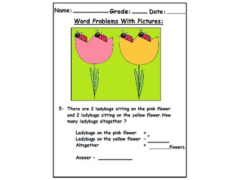 First Grade Word Problems With Pictures :( Addition Worksheets)