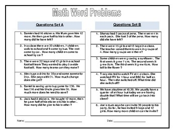Math Word Problems and Puzzles