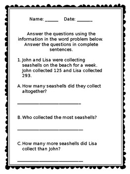 Math Word Problems for 2nd Grade