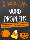 Halloween Math Word Problems for Middle School - Whole Numbers