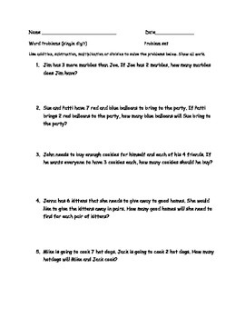 Math Word Problems for Progress Monitoring
