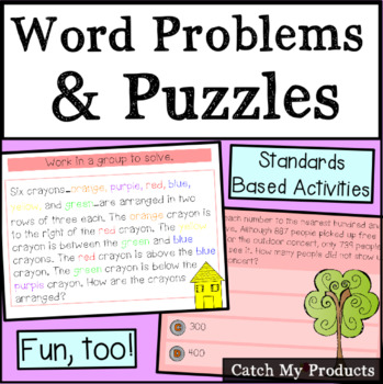 Word Problems & A Puzzle to Challenge Gifted Students for Promethean Board Use