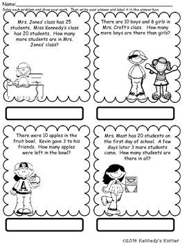 Math Word Problems for September - Grades 2 -3