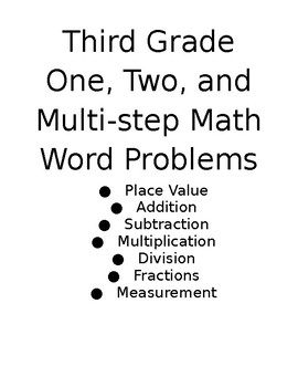 Third Grade One, Two, and Multi-step Word Problems
