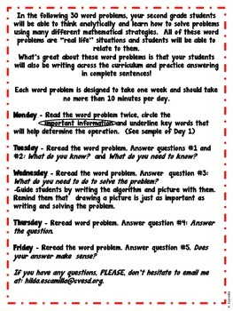 Math Word Problems Of The Week For 2nd Grade In Spanish By Hilda
