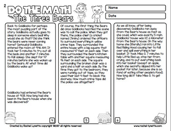 Math Word Problems with Goldilocks and the 3 Bears - Challenging and Fun!