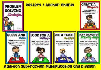 Math Word Problems (with Problem Solving Strategy Anchor Charts)