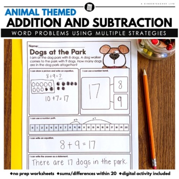 Math Word Problems Addition and Subtraction with Sums Up to 19