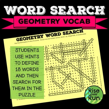 Sub Plans, Math Word Search: Basic Geometry Vocabulary