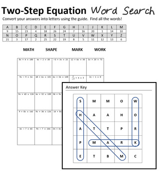 Math Word Search Puzzle - 2 Step Linear Equations