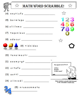 Math Word Search Puzzle PLUS Math Word Scramble (Both Items)