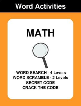 Math - Word Search, Scramble,  Secret Code,  Crack the Code