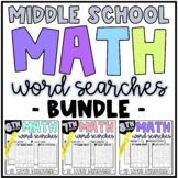 Middle School Math Word Searches Bundle | Early Finishers