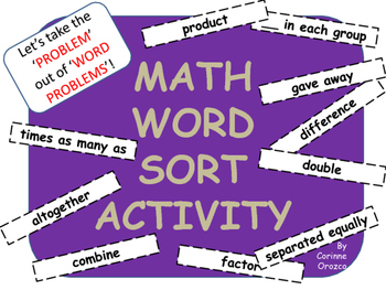 Math Word Sort Activity - 3rd Grade