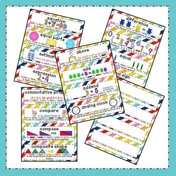 Math Word Wall - Kindergarten & 1st Grade - Common Core - Rainbow Stripes